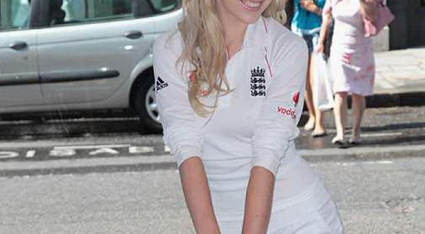 Zoe Salmon at an Ashes promotion for Cancer Research UK