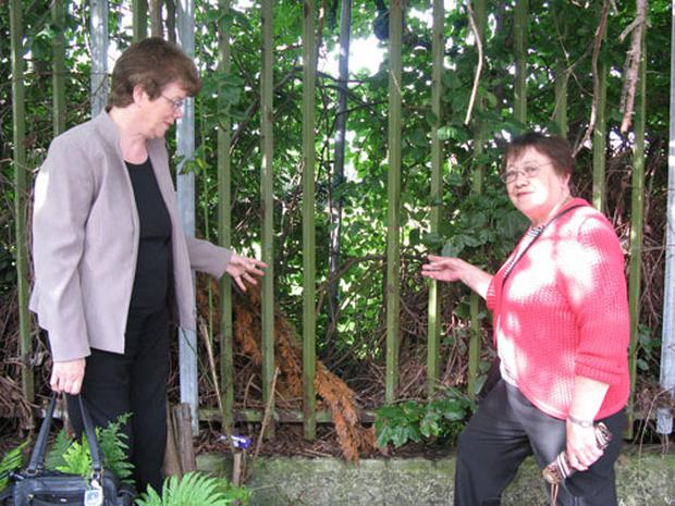 (L-r) Joan Duncan and Betty Kielty from Ulidia Residents' Association at one of the holes in the fence young people are using