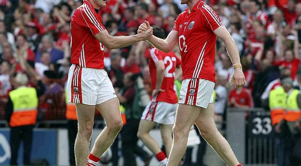 Cork's Nicholas Murphy (right) celebrating with Graham Canty after the stunning win over All Ireland champions Tyrone at Croke Park