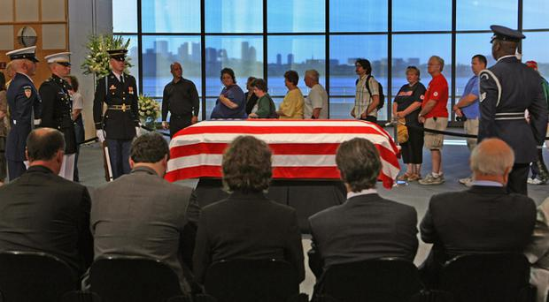 Senator Edward Kennedy lies in repose yesterday