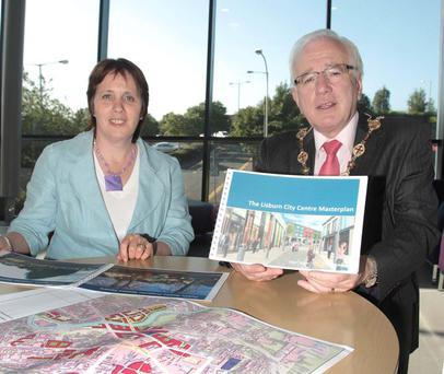 Councillor Jenny Palmer, chair of the Council's Economic Development Committee, and the Mayor of Lisburn, Councillor Allan Ewart, chairman of the Lisburn City Centre Management Committee, launch the public consultation of the draft masterplan for Lisburn city's future