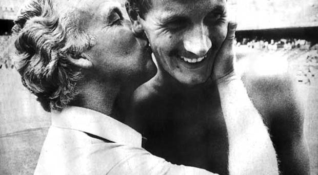 Billy Bingham and Billy Hamilton jubilant after the Austria game in the 1982 World Cup finals in Spain