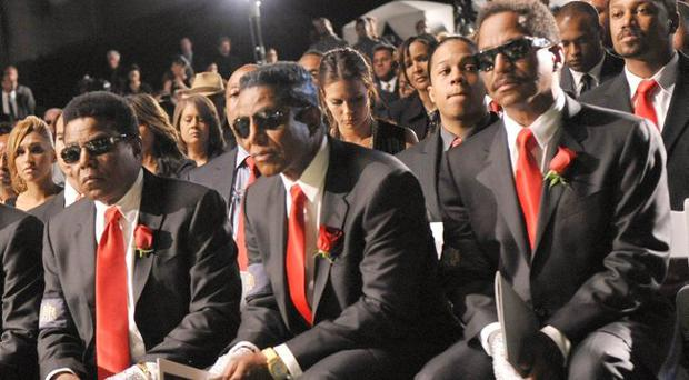 Members of the The Jackson Family attend Michael Jackson's funeral service