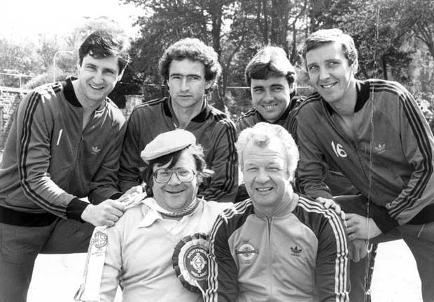 Actor Justin Duff with Billy Bingham and members of his World Cup squad, Jim Platt, Martin O'Neill, Mal Donaghy and Sammy Nelson.