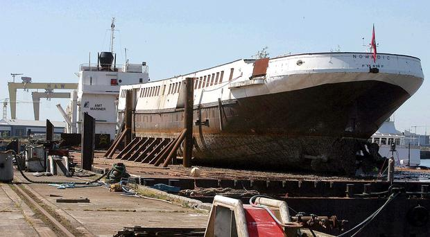 The Nomadic is lying in dry dock in Belfast waiting for restoration work to begin