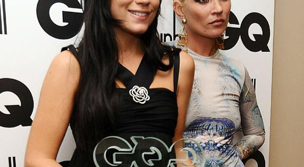 Lily Allen with her Woman of the Year award and Kate Moss (right) at the 2009 GQ Men of the Year Awards at the Royal Opera House, Covent Garden