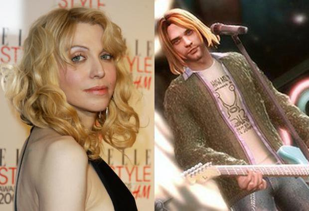 Kurt Cobain's character can be unlocked in the game to play soft rock, to the fury of Courtney Love (left)