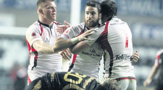 Ian Humphreys leads the celebrations as Ulster bring the Ospreys down to earth in Swansea