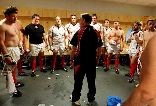 Brian McLaughlin talking to the Ulster team in the dressing room after the win at Ospreys