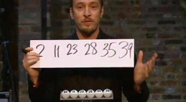 Derren Brown revealing the winning Lottery numbers