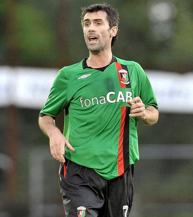 Keith Gillespie made his first appearance in a Glentoran shirt, turning out for the Oval's second string in Ballymena