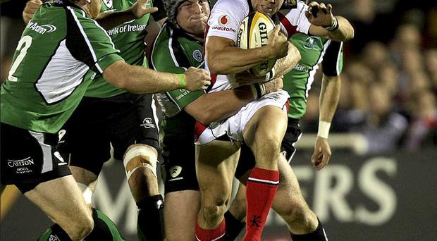 Ulster's Isaac Boss tries to get past Connacht's Brett Wilkinson last night at the Sportsground