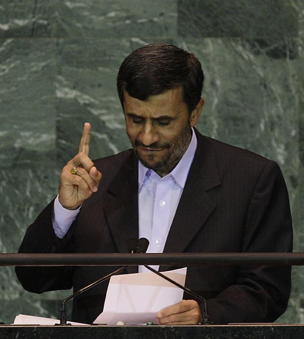 Iranian President Mahmoud Ahmadinejad addresses the United Nations General Assembly at the UN headquarters
