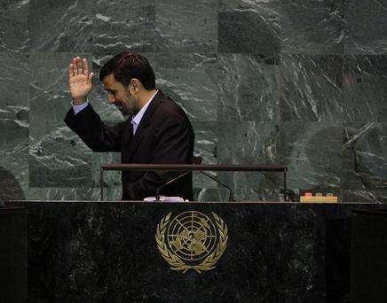 Iranian President Mahmoud Ahmadinejad finishes addressing the United Nations General Assembly at the UN headquarters on 23 September in New York