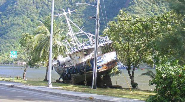 The aftermath of the the tsunami which hit American Samoa - Sep 29, 2009