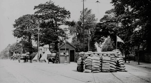 Military post, Ormeau road, Belfast 1922 To purchase this photograph as large format canvas or acrylic visit Belfast Telegraph page on www.niphotocanvas.co.uk