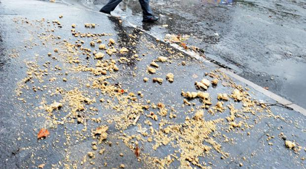 Raw sewage lies on the roads and pavements at Cooke Street and River Place in the Lower Ormeau Road area of south Belfast