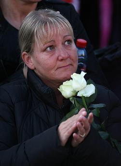 A mourner at the funeral of Stephen Gately
