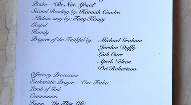 The order of service for the funeral of Stephen Gately