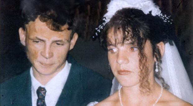 A picture of murdered man John Mongan and his wife on their wedding day