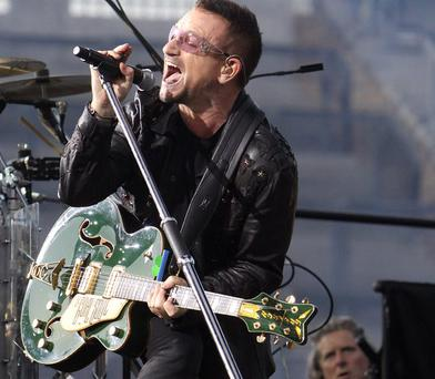 Lead singer Bono in Croke Park, Dublin on the first night of U2's '360' world tour.