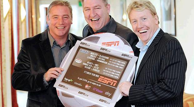 Ally McCoist, Norman Whiteside and Frank McAvennie at the Europa Hotel yesterday to promote ESPN's coverage of the English and Scottish Premier Leagues
