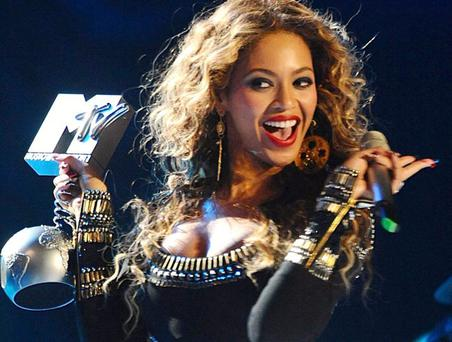 Beyonce accepts the award for Best Video at the 2009 MTV Europe Music Awards at the 02 Arena in Berlin, Germany.