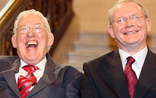 Ian Paisley and Martin McGuinness after being sworn in as ministers of the Northern Ireland Assembley, Stormont. May 8, 2007.