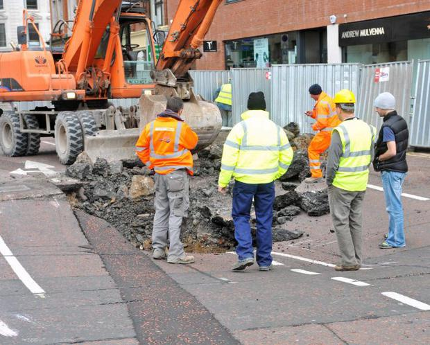 The damaged caused to the Road on Cromac Street in Belfast City Centre, after it collapsing into what is believed to be a large hole above a storm-water tunnel