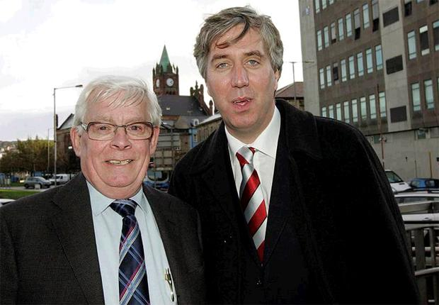 Hugh McDaid, former Derry City chairman, with FAI chief executive John Delaney