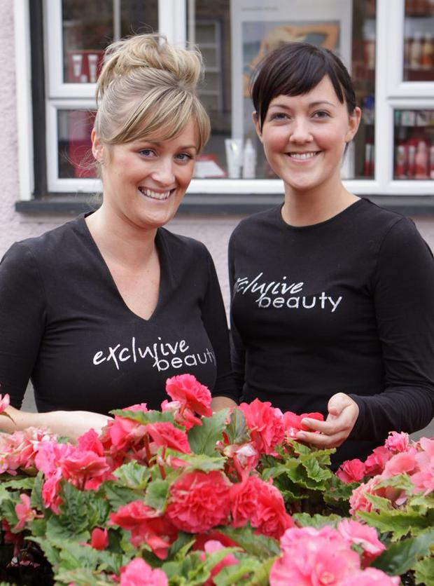 Beauty shop workers Gillian Jamieson and Rhonda Hughes