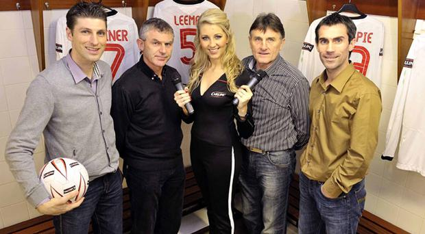 Glentoran captain Paul Leeman, former Miss Northern Ireland Catherine Milligan, Jim Cleary, Billy Caskey and Keith Gillespie took part in the Carling Presents an Evening of Legends event at the Oval