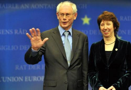 Belgian Prime Minsiter Herman Van Rompuy and EU Commissioner for trade Catherine Ashton