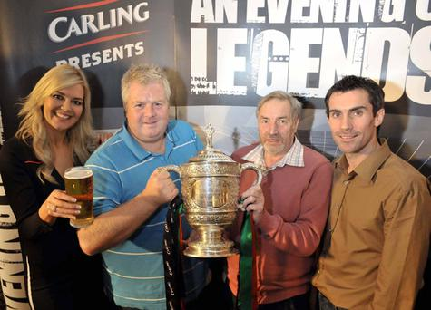Colin Close and Robert Gilbert from Portadown are pictured with Carling girl Judith Wilson and Glentoran's Keith Gillespie at The Oval at the first 'Carling Presents an Evening of Legends' event. More than 100 Glentoran fans attended the event which gave them the opportunity to meet and quiz star players Keith Gillespie and Paul Leeman and legends Billy Caskey and Jim Cleary
