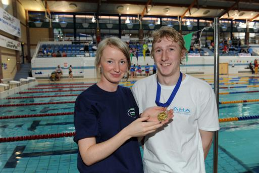 Disability Sport NI swimming championships held at Lisburn Leisureplex. Mathew Bell with Joanne O'Hagan from Disability Sport NI