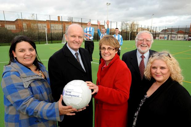 (L-r) Glenda Davies, chair of South-West Belfast Neighbourhood Partnership, Michael McGimpsey MLA, Margaret Ritchie, Ernie Corbett, chairperson of Sandy Row Community Forum and Sandra McKenna from DSD's regeneration office at the new games area
