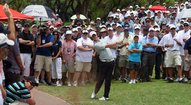 Rory McIlroy hits out during his round at the Nedbank Challenge in Sun City