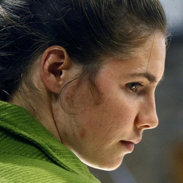 Amanda Knox looks on during a break in the trial at the court in Perugia, central Italy (AP)