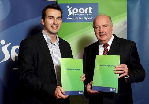 Ryan Haire (left), sports development officer for Belfast City Council, and Brian McCargo, Sport Northern Ireland board member, launch the Awards for All programme