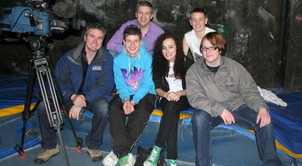 (L-r front) Marty Gordan, UTV; Shea Reynolds, NICCY Youth Panel; Nikki Clinton, Young NCB NI; Tristan Boyle, NICCY Youth Panel; (back left) Marc Mallet, UTV presenter, and Aodan Curley, NICCY Youth Panel
