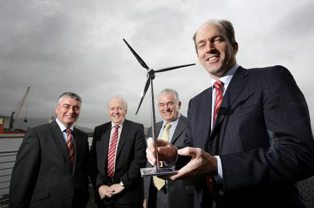 Guido Bartels of the US GridWise Alliance and IBM) announces the new electricity alliance with |Niall Casey of Invest NI, Bob Barbour from the Centre for Competitiveness and Paddy Turnbull of SmartGridIreland at the Northern Ireland Science Park
