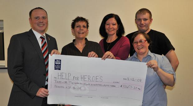 (L-r) Help for Heroes coordinator Neal Somerville, south Belfast organisers for the event Sharon Stewart, Ann Crowe, Joanne Grattan, and Michael Stoker