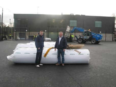 (L-r) Ronan McKenna and Gerard Rice as work on the extension and outdoor pitch nears completion