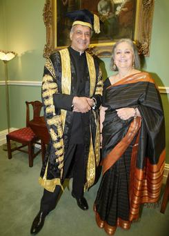 International statesman His Excellency Kamalesh Sharma, Secretary-General of the Commonwealth, who was installed as the ninth Chancellor of Queen's University Belfast, with his wife Babli, at Queen's University Belfast