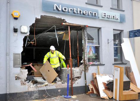 Thieves stole a cash machine from The Northern Bank in Ballygawley, County Tyrone 19-11-2009