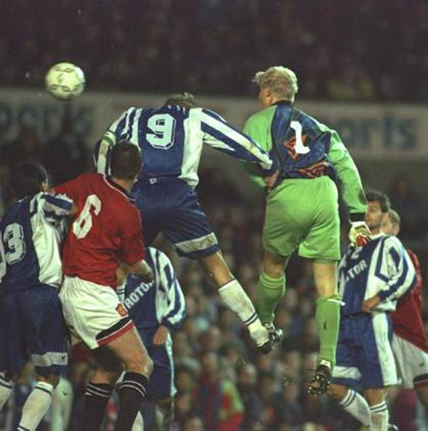 <b>Peter Schmeichel</b><br/> Peter Schmeichel scored thirteen goals in his distinguished career, including heading Manchester United's equaliser from a corner in a Uefa Cup tie against Rotor Volgograd in 1996 (pictured), although United still went out on the away goals rule. He scored more goals than many a defender, his last one in a 3-2 win against Everton during his spell at Aston Villa.