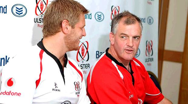 Chris Henry, who captained Ulster at the weekend, and coach Brian McLaughlin (left) expect another tough duel on Saturday