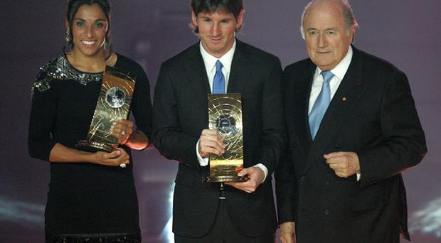 Women's FIFA World Player 2009, Brazil's Marta, FIFA World Player, Argentina's Lionel Messi and FIFA President Sepp Blatter during the FIFA World Player Gala 2009