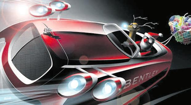 Revving up for Christmas: Santa's sleigh has been remodelled by some of the motor industries top designers for the 21st century