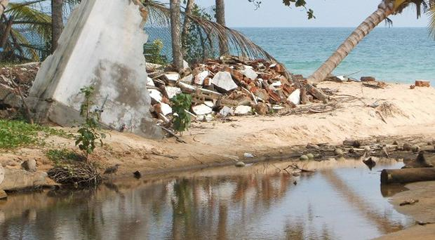 Damage caused by the Boxing Day tsunami in Sri Lanka